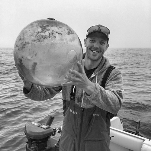 Dave Ward with glass ball