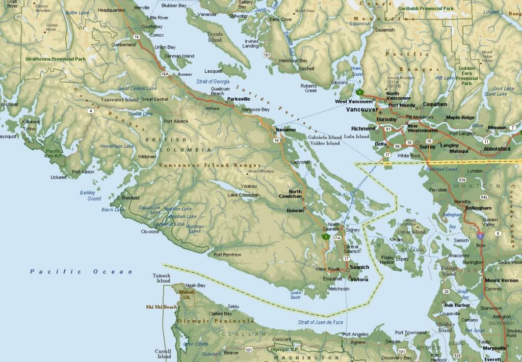 Lakes Around Southern Vancouver Island